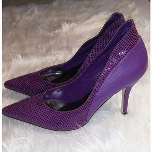 Shoes - Damita K Purple snakeskin fashion print heels